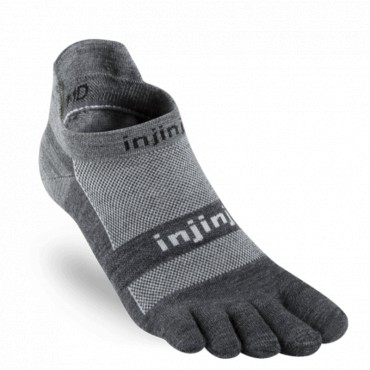 Chaussettes à doigts Injinji Run Light Weight No Show Nuwool granite