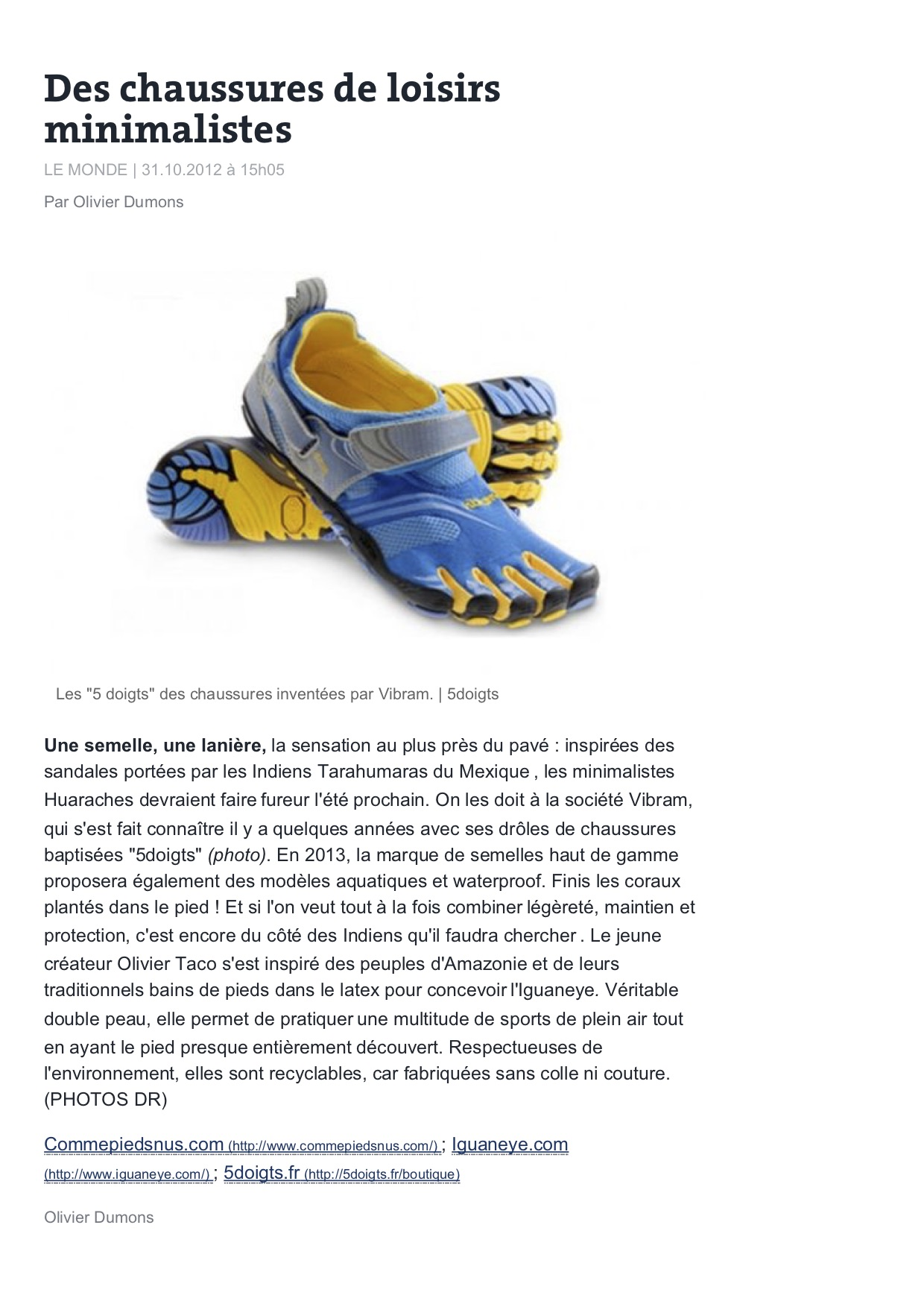Origine chaussures minimalistes Le Monde