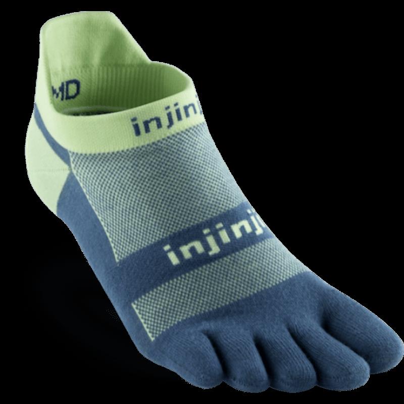 Chaussettes à doigts Injinji no show light weight bleu lime